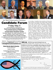 Flyer for the 5/5 Candidate Forum sponsored by York County Action and Conservative Christian Center (click on the image to go to the full size PDF).