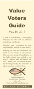 Advice of Dr. Ken Gibson for Primary Election Day Today; Gibson Says: Vote Tuesday, and use the CCC Values Voter Guide to help you choose wisely (follow this link)
